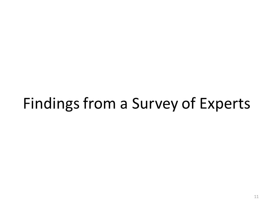 11 Findings from a Survey of Experts