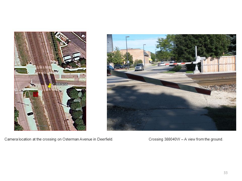 33 Camera location at the crossing on Osterman Avenue in Deerfield.Crossing 388040W – A view from the ground.