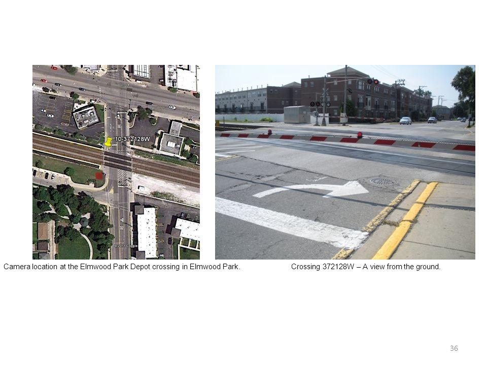 36 Camera location at the Elmwood Park Depot crossing in Elmwood Park.Crossing 372128W – A view from the ground.