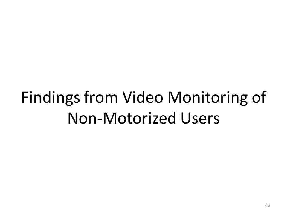 45 Findings from Video Monitoring of Non-Motorized Users
