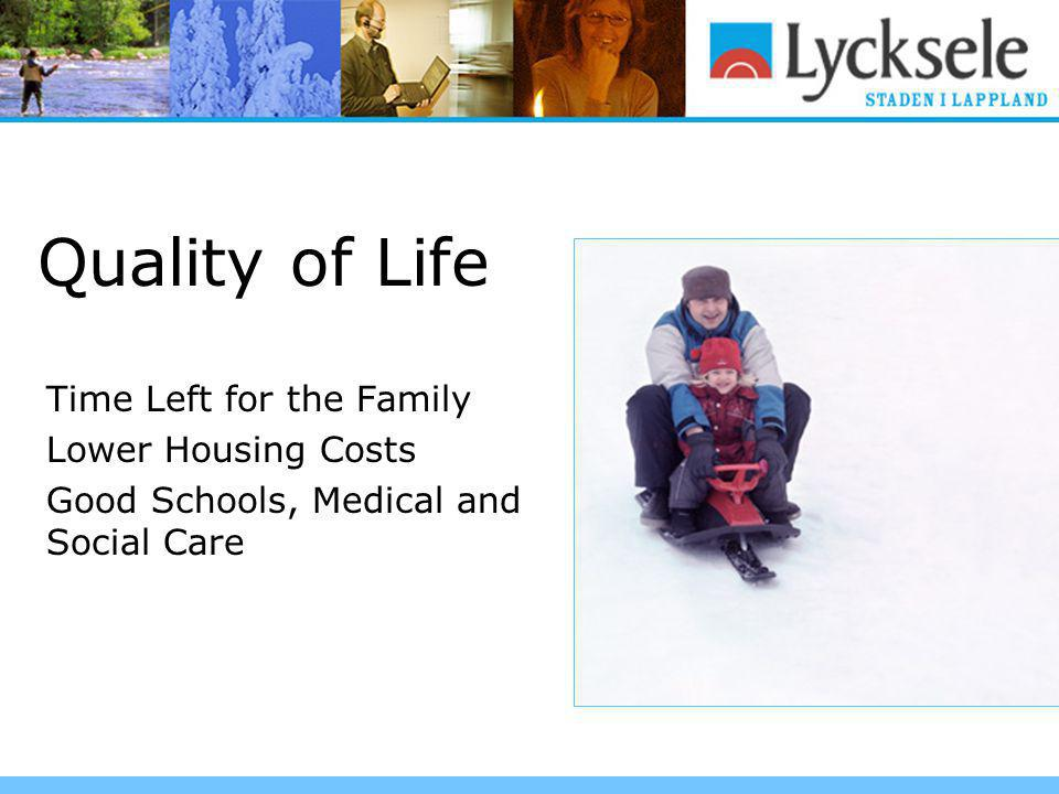 Quality of Life Time Left for the Family Lower Housing Costs Good Schools, Medical and Social Care