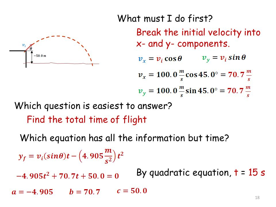 Without the quadratic formula solve for t: i.Find final velocity in y-axis ii.Find time 2 STEPS: 19