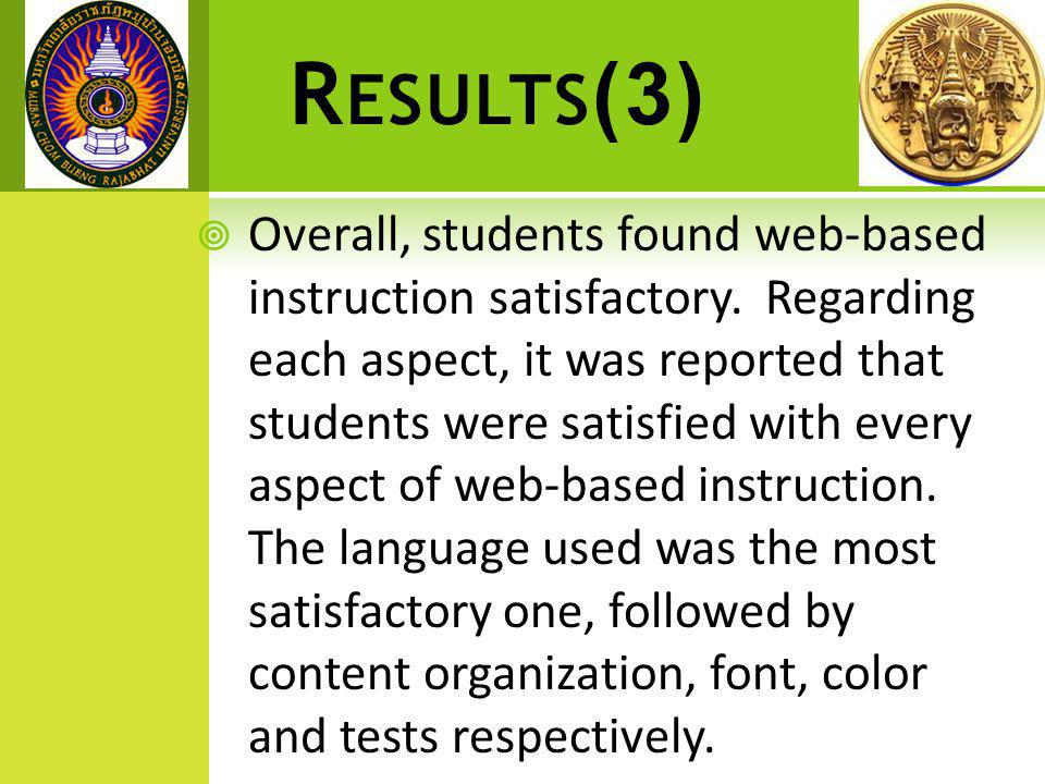 R ESULTS (3)  Overall, students found web-based instruction satisfactory.