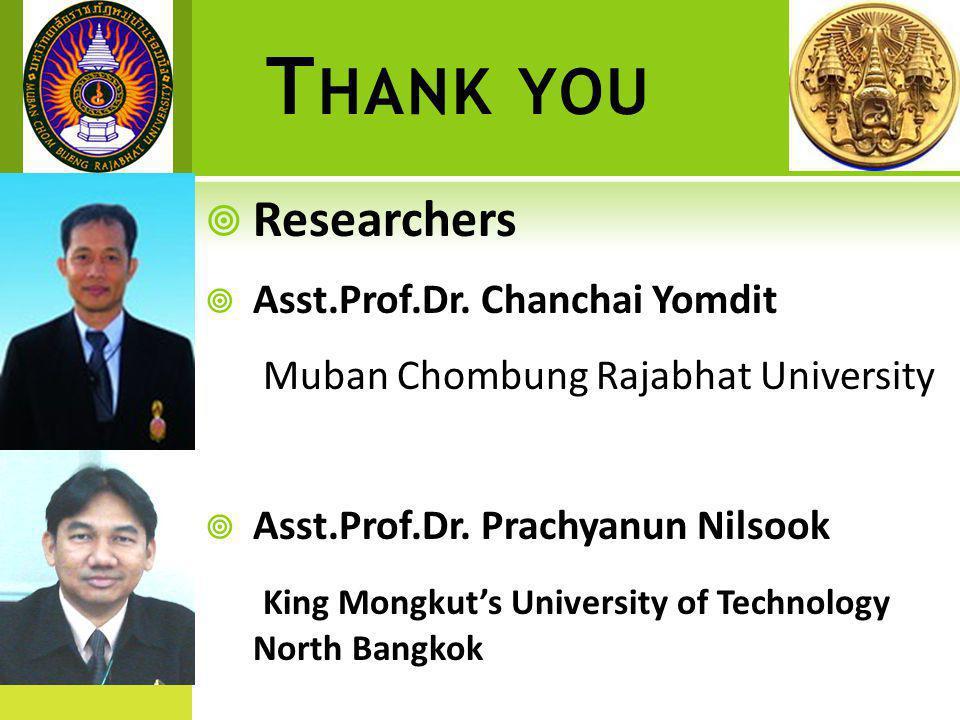 T HANK YOU  Researchers  Asst.Prof.Dr.