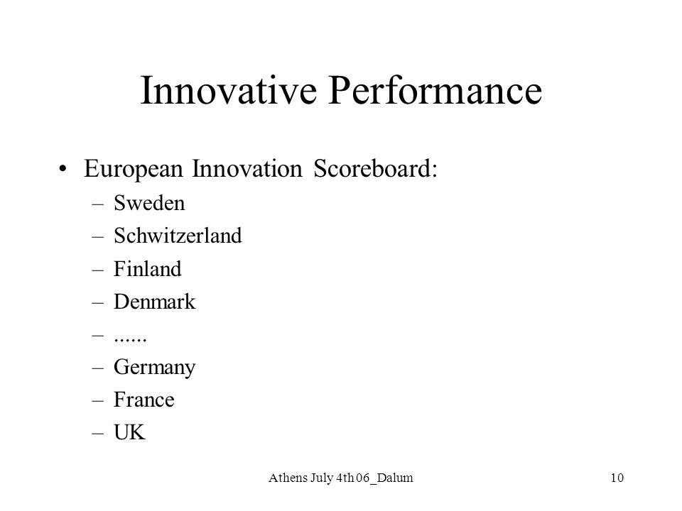 10 Innovative Performance European Innovation Scoreboard: –Sweden –Schwitzerland –Finland –Denmark –...... –Germany –France –UK