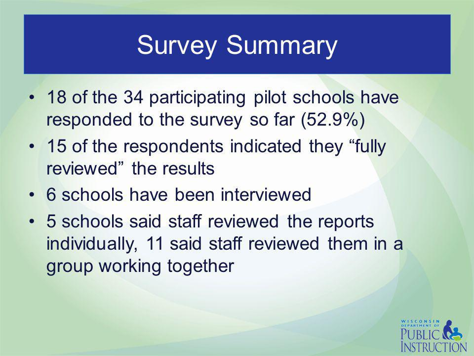Survey Summary 18 of the 34 participating pilot schools have responded to the survey so far (52.9%) 15 of the respondents indicated they fully reviewed the results 6 schools have been interviewed 5 schools said staff reviewed the reports individually, 11 said staff reviewed them in a group working together