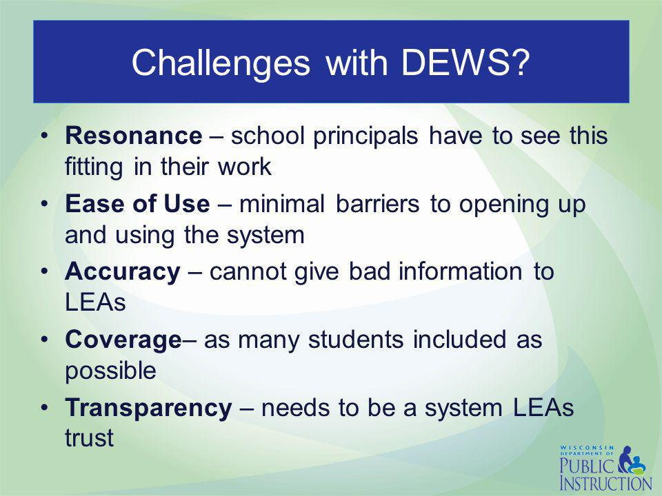 Challenges with DEWS? Resonance – school principals have to see this fitting in their work Ease of Use – minimal barriers to opening up and using the