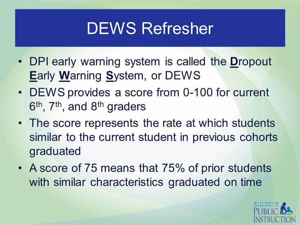 DEWS Refresher DPI early warning system is called the Dropout Early Warning System, or DEWS DEWS provides a score from 0-100 for current 6 th, 7 th, a