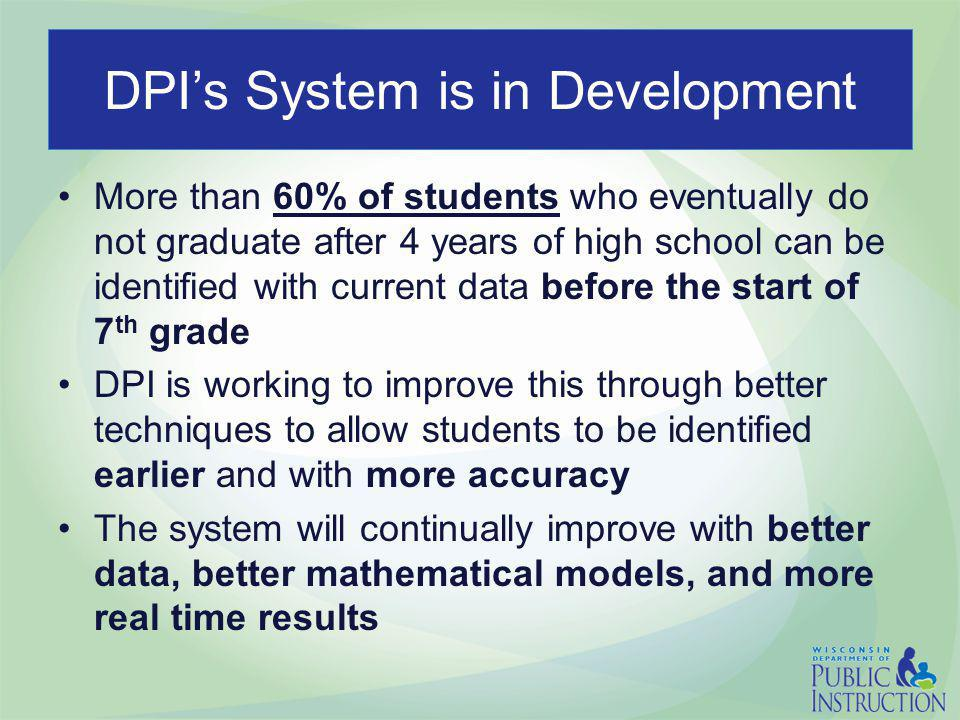DPI's System is in Development More than 60% of students who eventually do not graduate after 4 years of high school can be identified with current data before the start of 7 th grade DPI is working to improve this through better techniques to allow students to be identified earlier and with more accuracy The system will continually improve with better data, better mathematical models, and more real time results
