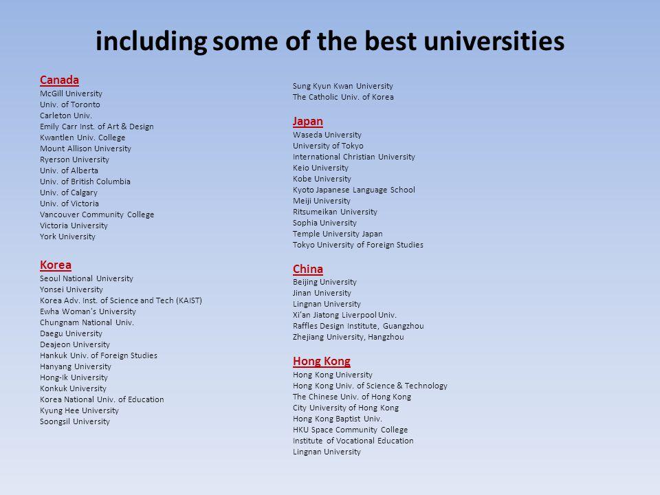 including some of the best universities Canada McGill University Univ. of Toronto Carleton Univ. Emily Carr Inst. of Art & Design Kwantlen Univ. Colle