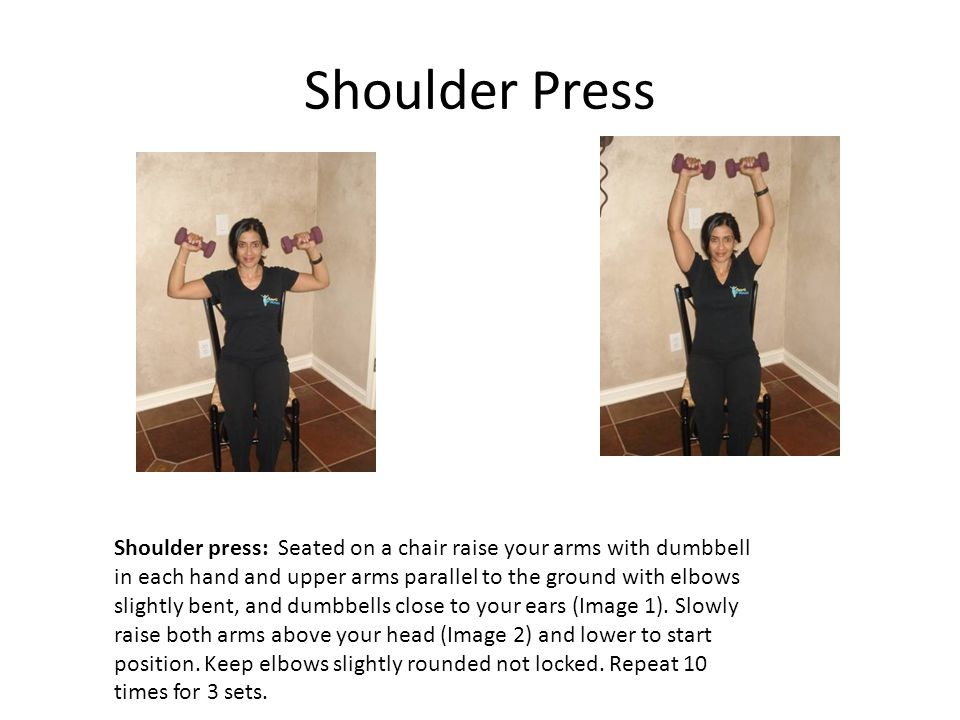 Shoulder Press Shoulder press: Seated on a chair raise your arms with dumbbell in each hand and upper arms parallel to the ground with elbows slightly bent, and dumbbells close to your ears (Image 1).