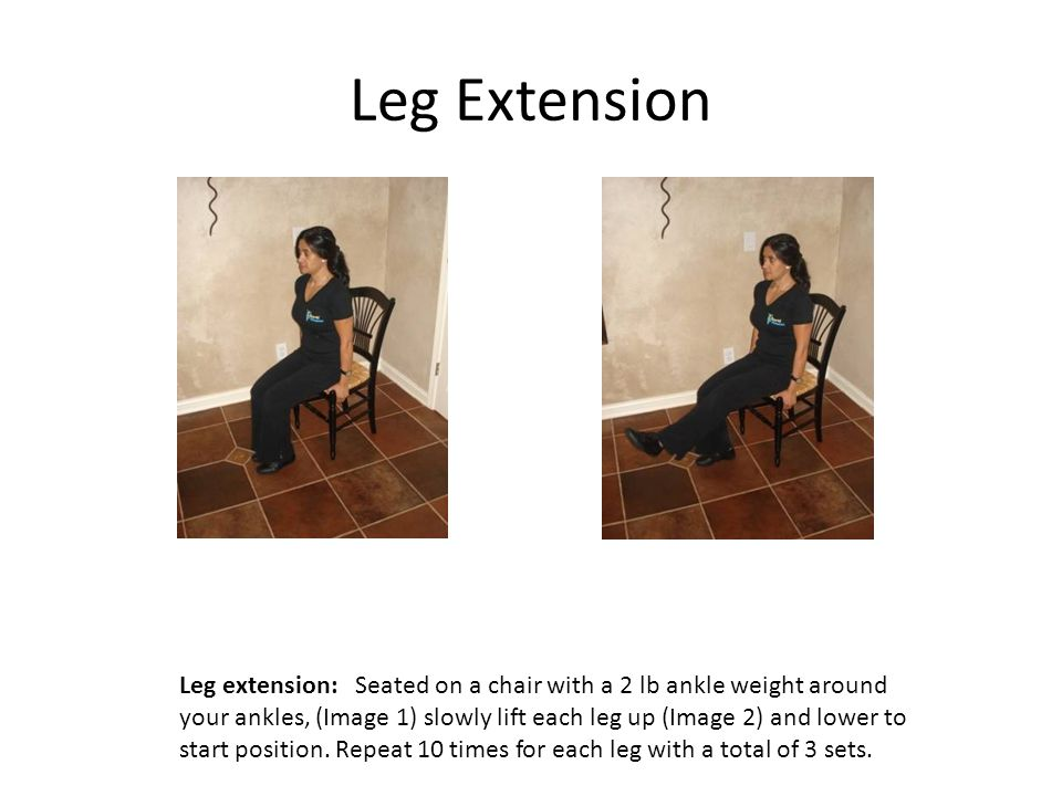 Leg Extension Leg extension: Seated on a chair with a 2 lb ankle weight around your ankles, (Image 1) slowly lift each leg up (Image 2) and lower to start position.