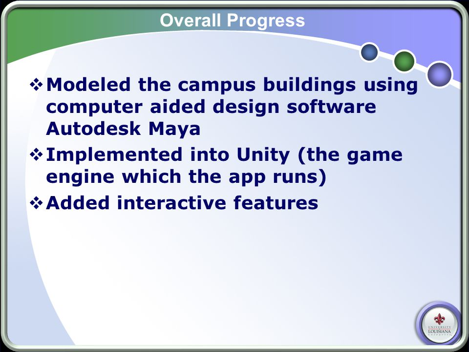 Overall Progress  Modeled the campus buildings using computer aided design software Autodesk Maya  Implemented into Unity (the game engine which the app runs)  Added interactive features
