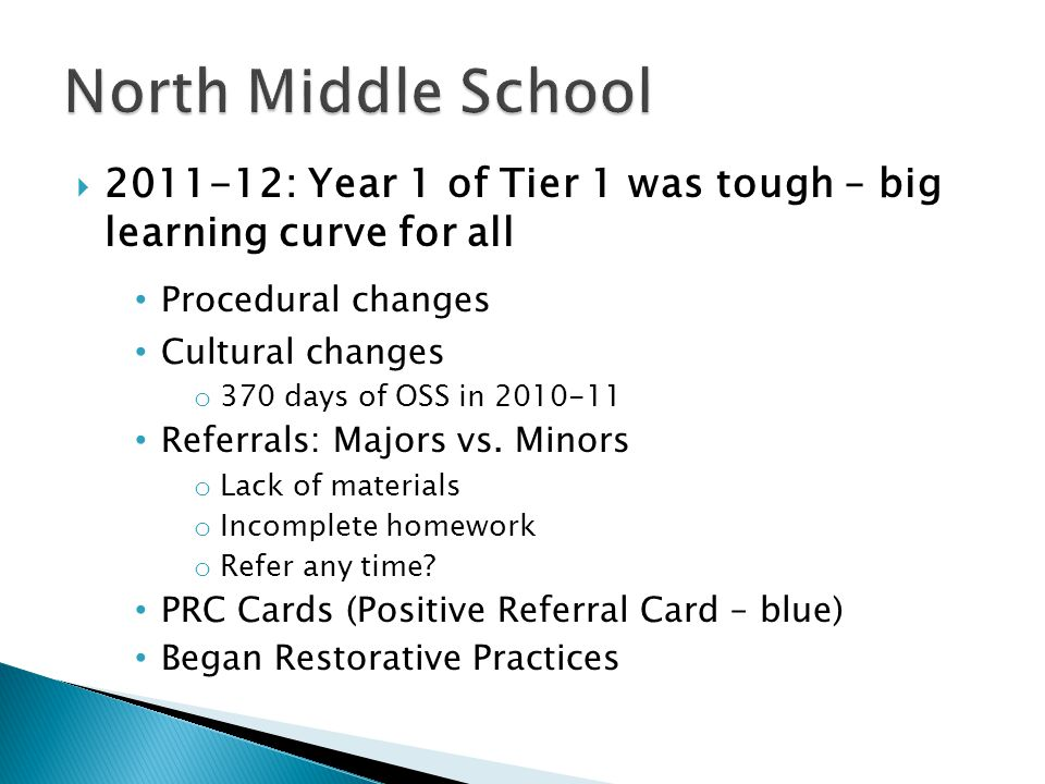  2011-12: Year 1 of Tier 1 was tough – big learning curve for all Procedural changes Cultural changes o 370 days of OSS in 2010-11 Referrals: Majors vs.