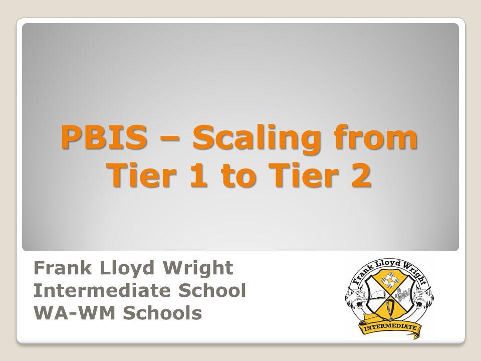 Frank Lloyd Wright Intermediate School WA-WM Schools PBIS – Scaling from Tier 1 to Tier 2