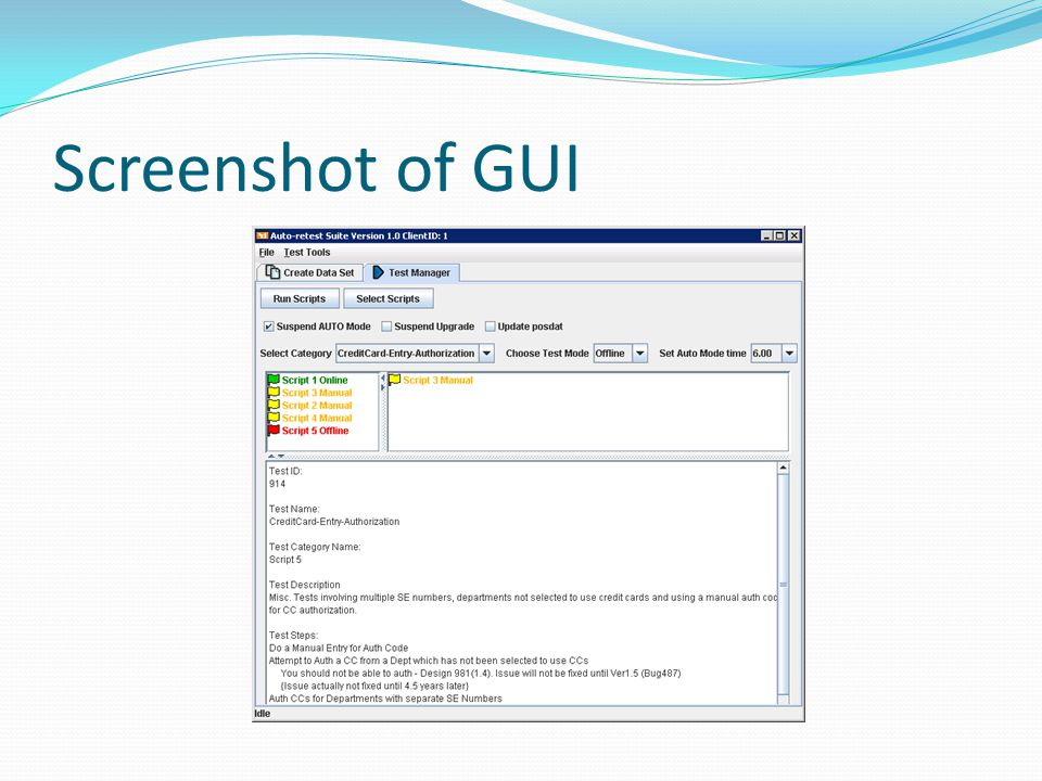 Screenshot of GUI
