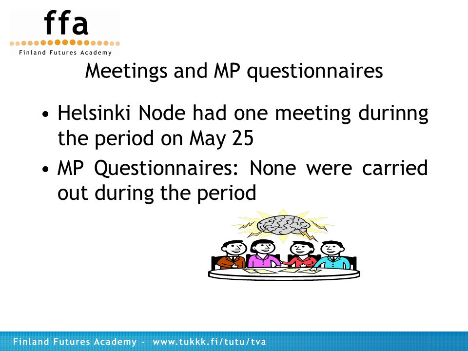 Meetings and MP questionnaires Helsinki Node had one meeting durinng the period on May 25 MP Questionnaires: None were carried out during the period