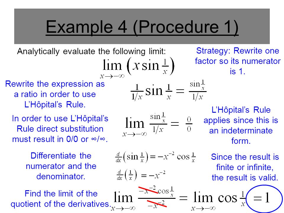 ***Aside*** Analytically evaluate the following limit: For this example, the limit's value does not change if x approaches negative infinity.