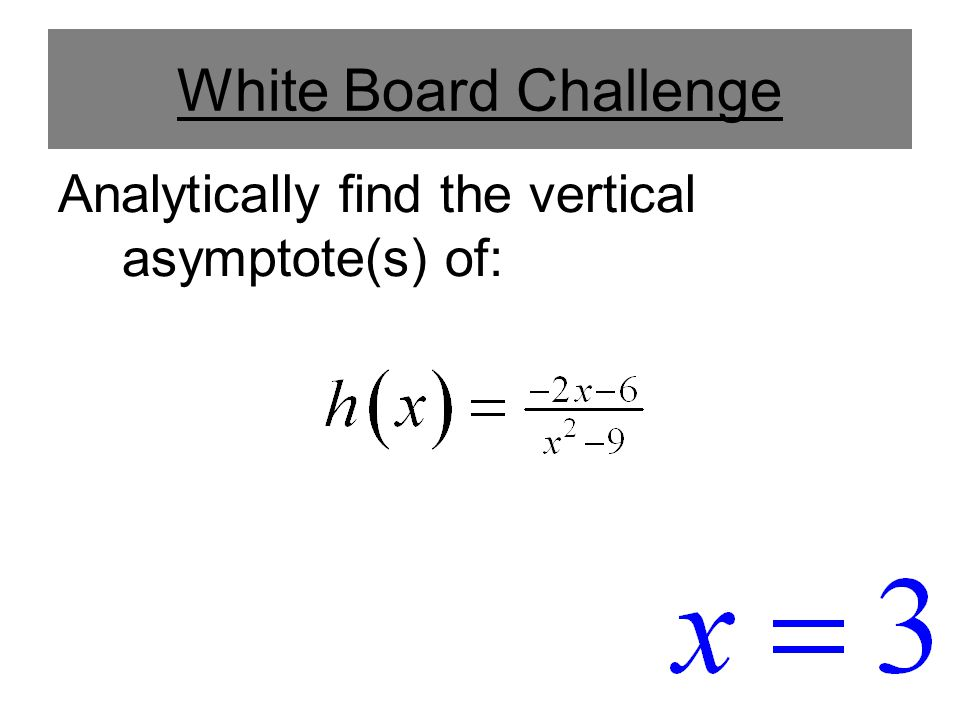 Horizontal Asymptotes and Limits When we investigate infinite limits and horizontal asymptotes, we will let x become arbitrarily large (positive or negative) and see what happens to y.