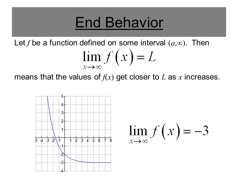 End Behavior Let f be a function defined on some interval (-∞, a).