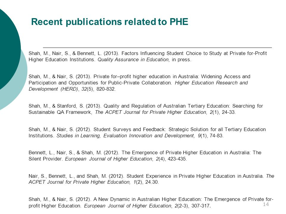 Recent publications related to PHE Shah, M., Nair, S., & Bennett, L.