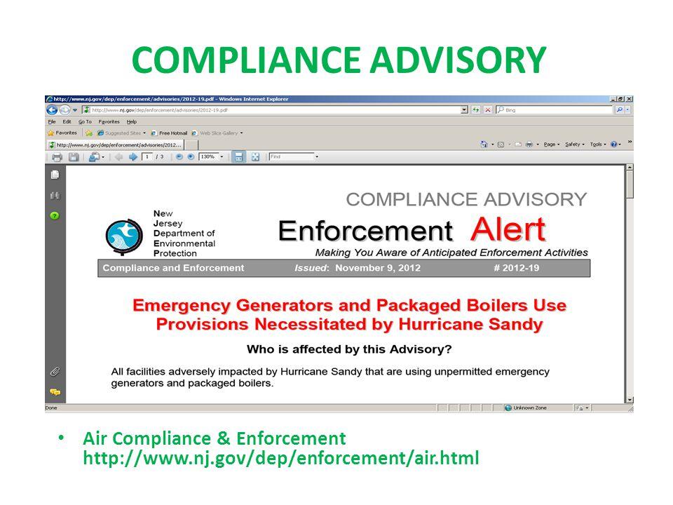 COMPLIANCE ADVISORY Air Compliance & Enforcement http://www.nj.gov/dep/enforcement/air.html