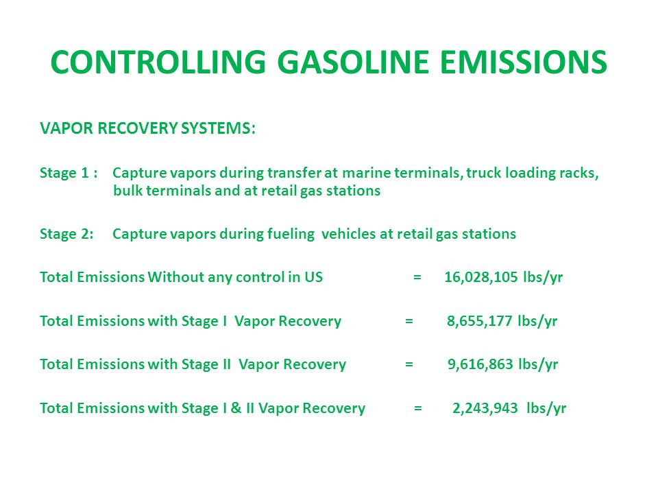 CONTROLLING GASOLINE EMISSIONS VAPOR RECOVERY SYSTEMS: Stage 1 : Capture vapors during transfer at marine terminals, truck loading racks, bulk terminals and at retail gas stations Stage 2: Capture vapors during fueling vehicles at retail gas stations Total Emissions Without any control in US = 16,028,105 lbs/yr Total Emissions with Stage I Vapor Recovery = 8,655,177 lbs/yr Total Emissions with Stage II Vapor Recovery = 9,616,863 lbs/yr Total Emissions with Stage I & II Vapor Recovery = 2,243,943 lbs/yr