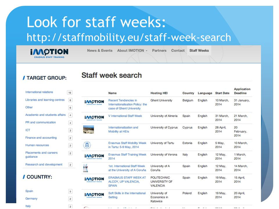 Look for staff weeks: http://staffmobility.eu/staff-week-search EC LLP Erasmus Accompanying Measures grant agreement number 2013 – 2888 / 001 - 001