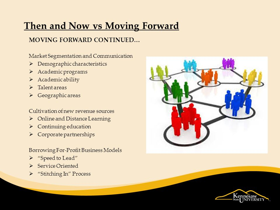 Then and Now vs Moving Forward MOVING FORWARD CONTINUED… Market Segmentation and Communication  Demographic characteristics  Academic programs  Academic ability  Talent areas  Geographic areas Cultivation of new revenue sources  Online and Distance Learning  Continuing education  Corporate partnerships Borrowing For-Profit Business Models  Speed to Lead  Service Oriented  Stitching In Process