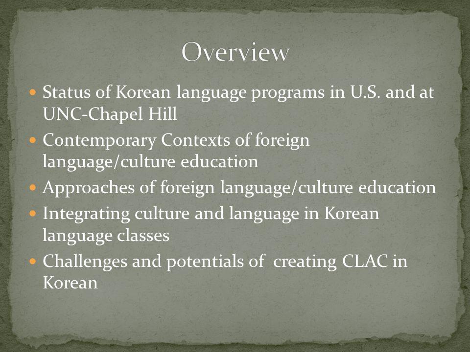 Status of Korean language programs in U.S.