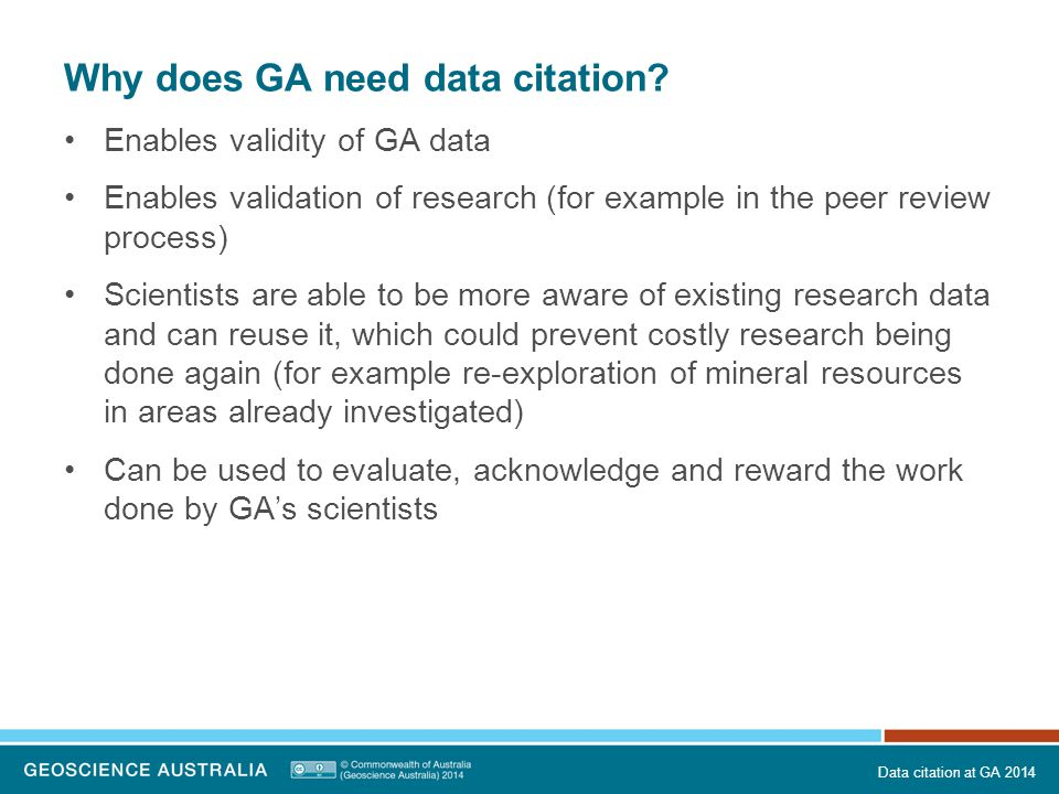 Why does GA need data citation.