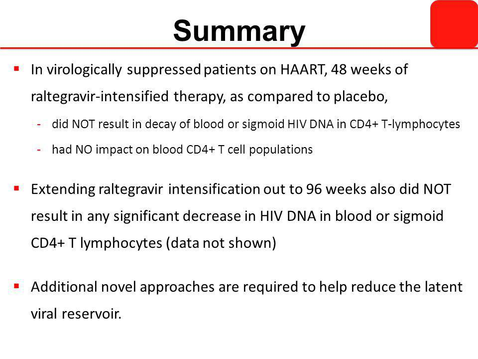 Summary  In virologically suppressed patients on HAART, 48 weeks of raltegravir-intensified therapy, as compared to placebo, -did NOT result in decay