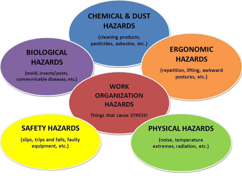 CHEMICAL & DUST HAZARDS (cleaning products, pesticides, asbestos, etc.) CHEMICAL & DUST HAZARDS (cleaning products, pesticides, asbestos, etc.) BIOLOGICAL HAZARDS (mold, insects/pests, communicable diseases, etc.) BIOLOGICAL HAZARDS (mold, insects/pests, communicable diseases, etc.) ERGONOMIC HAZARDS (repetition, lifting, awkward postures, etc.) ERGONOMIC HAZARDS (repetition, lifting, awkward postures, etc.) WORK ORGANIZATION HAZARDS Things that cause STRESS.
