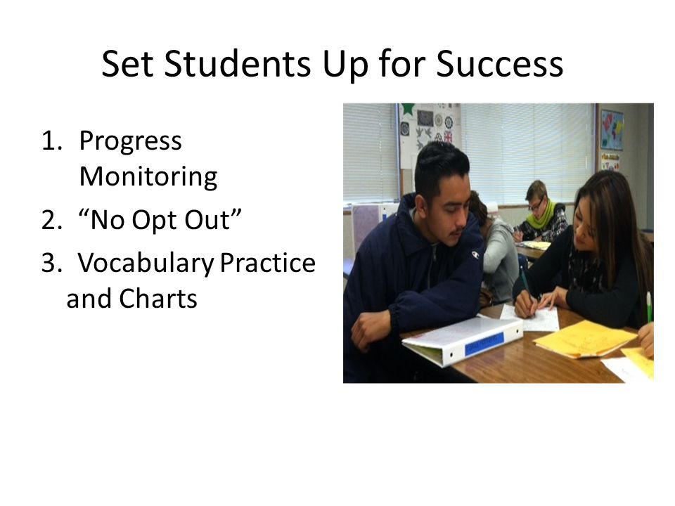 Set Students Up for Success 1.Progress Monitoring 2. No Opt Out 3. Vocabulary Practice and Charts