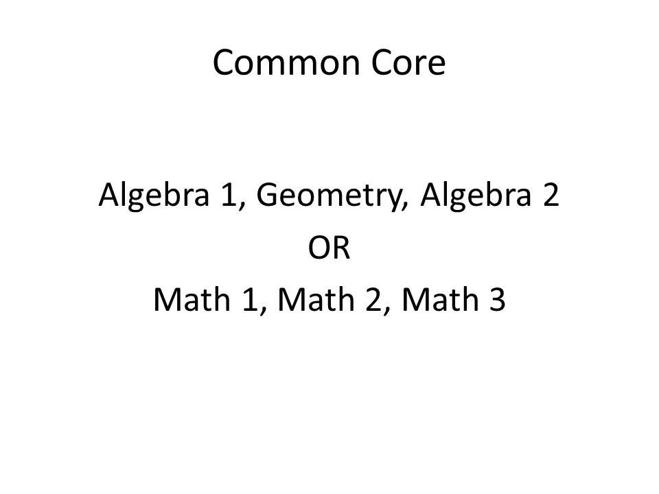 Common Core Algebra 1, Geometry, Algebra 2 OR Math 1, Math 2, Math 3
