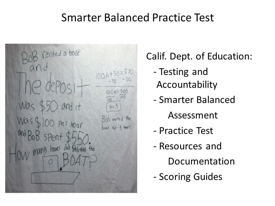 Smarter Balanced Practice Test Calif.Dept.