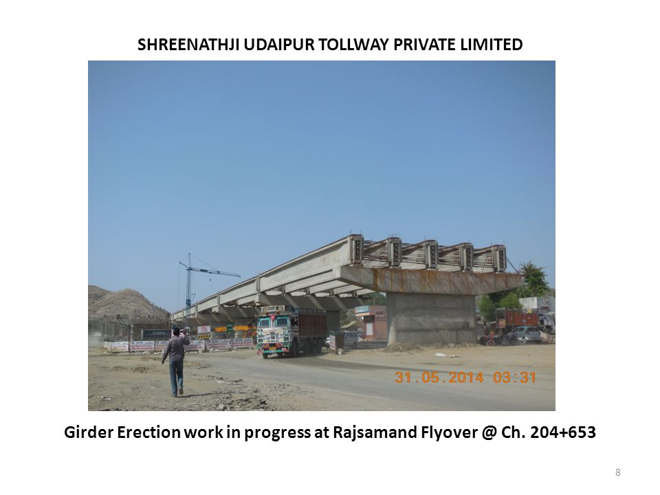 8 Girder Erection work in progress at Rajsamand Flyover @ Ch. 204+653