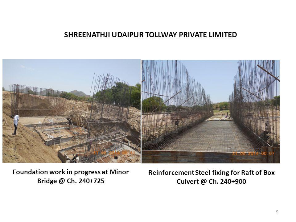 9 SHREENATHJI UDAIPUR TOLLWAY PRIVATE LIMITED Foundation work in progress at Minor Bridge @ Ch. 240+725 Reinforcement Steel fixing for Raft of Box Cul