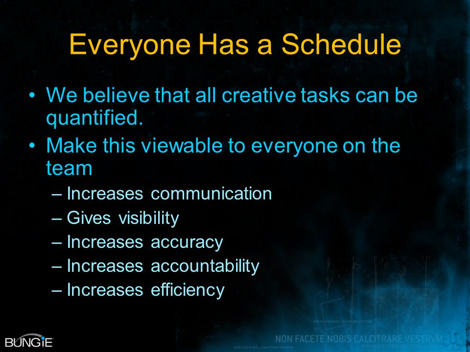 Everyone Has a Schedule We believe that all creative tasks can be quantified.
