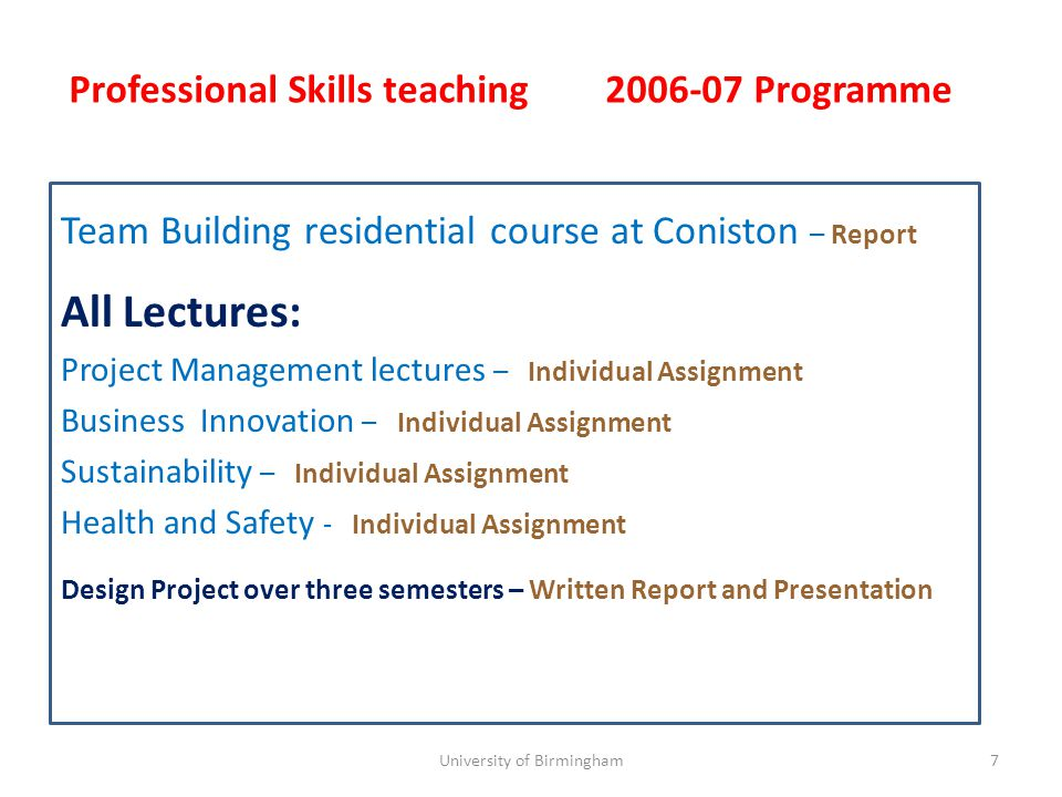 Team Building residential course at Coniston – Report All Lectures: Project Management lectures – Assignment Business Innovation – Assignment Sustainability – Assignment Health and Safety - Assignment 8 Professional Skills teaching 2007-08 Programme University of Birmingham
