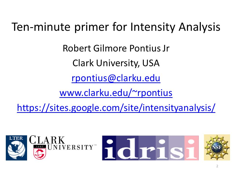 Intensity Analysis … 1.considers maps at T time points for the same set of J categories.