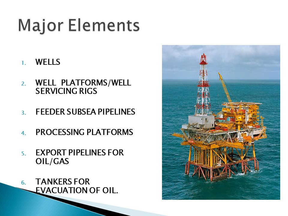 1. WELLS 2. WELL PLATFORMS/WELL SERVICING RIGS 3. FEEDER SUBSEA PIPELINES 4. PROCESSING PLATFORMS 5. EXPORT PIPELINES FOR OIL/GAS 6. TANKERS FOR EVACU