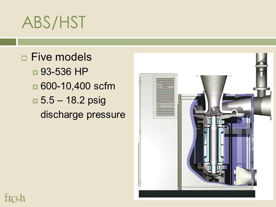 ABS/HST  Five models  93-536 HP  600-10,400 scfm  5.5 – 18.2 psig discharge pressure