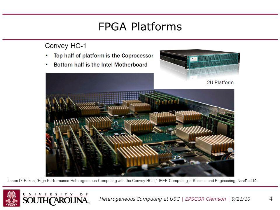 "FPGA Platforms Convey HC-1 Heterogeneous Computing at USC | EPSCOR Clemson | 9/21/10 4 Jason D. Bakos, ""High-Performance Heterogeneous Computing with"