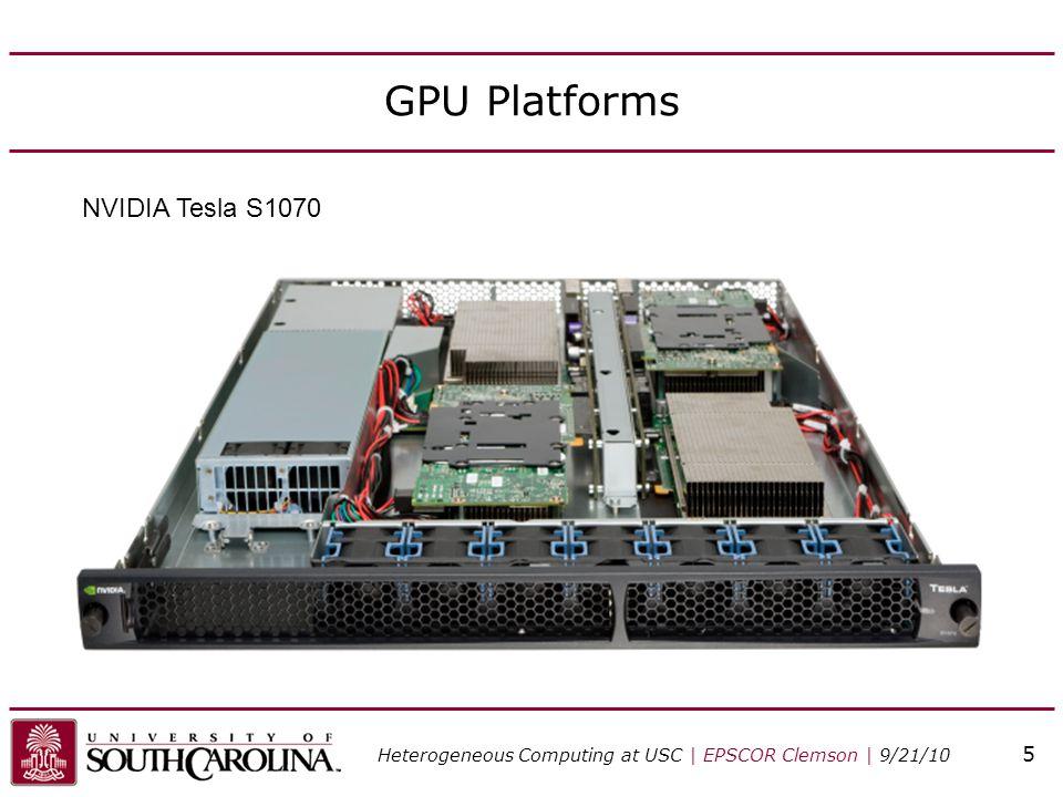 GPU Platforms NVIDIA Tesla S1070 Heterogeneous Computing at USC | EPSCOR Clemson | 9/21/10 5