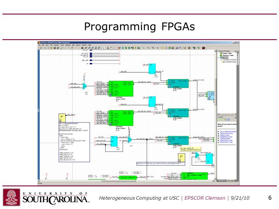 Programming FPGAs Heterogeneous Computing at USC | EPSCOR Clemson | 9/21/10 6