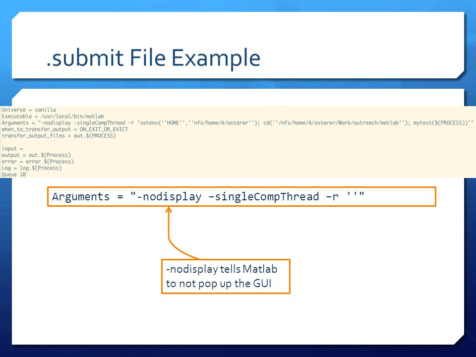.submit File Example Arguments =