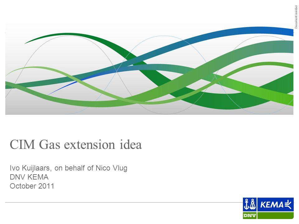 Document number 1 CIM Gas extension idea Ivo Kuijlaars, on behalf of Nico Vlug DNV KEMA October 2011