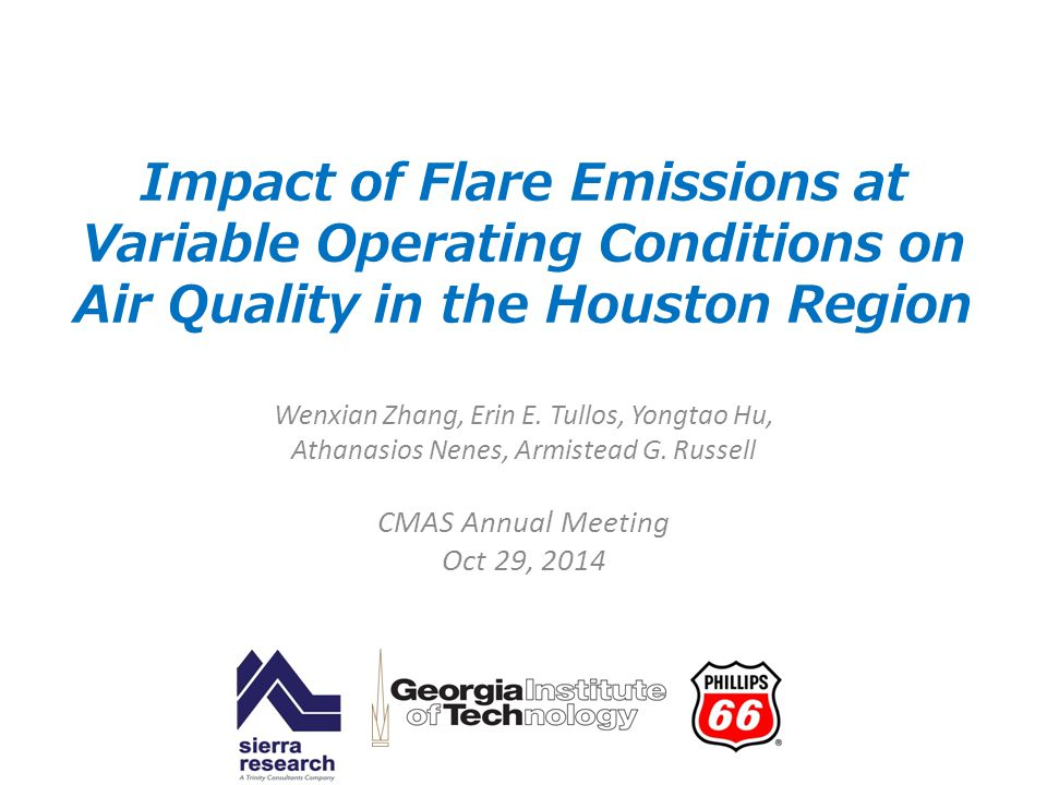 Impact of Flare Emissions at Variable Operating Conditions on Air Quality in the Houston Region Wenxian Zhang, Erin E. Tullos, Yongtao Hu, Athanasios
