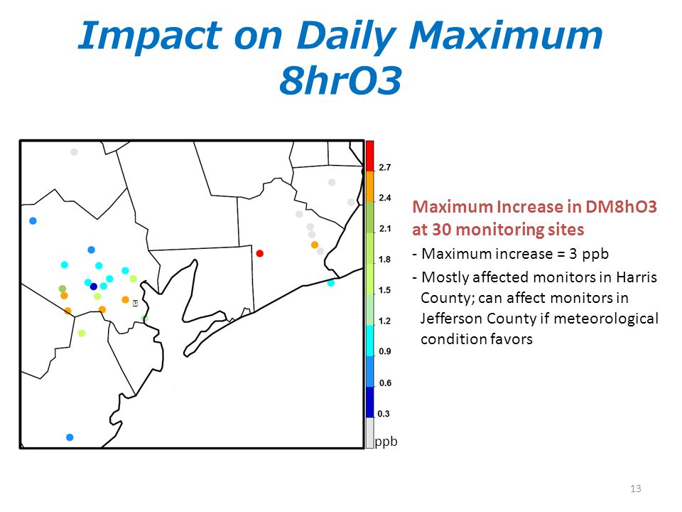 Impact on Daily Maximum 8hrO3 Maximum Increase in DM8hO3 at 30 monitoring sites - Maximum increase = 3 ppb - Mostly affected monitors in Harris County